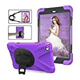 DIGIC iPad Mini 4 Cover Case, Hard 360 Degree Rotation Kickstand Adjustable Hand Strap Shoulder Strap Shock Absorption Tablet Carrying Case Shell étui iPad for Apple iPad Mini 4, Purple