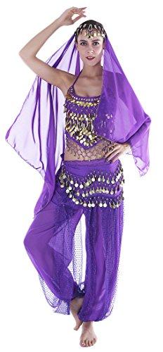 Faschingskostüme Damen Sexy Lila Orientalische Bauchtanz Fasching-Kostüme Chiffon (Frauen Sexy Elfen Kostüm)