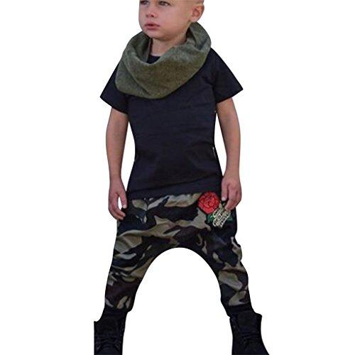 Schwarz Babyshirt (Bekleidung Babyshirt Kleinkind Kinder Jungen Kleider Kurzarm Drucken Einfarbiges Kurzarm-T-Shirt + Camouflage-Blumenhose zweiteilig by JYJM (Schwarz, 90))