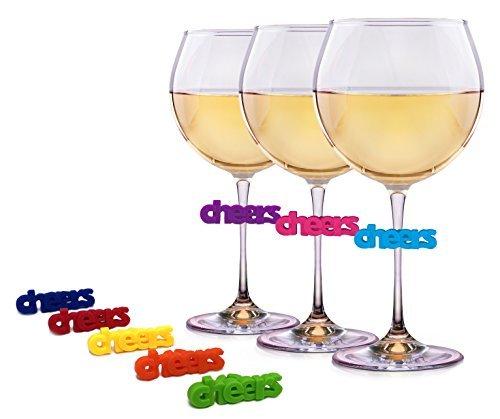 Wein Charms für Gläser–8Einzigartige Silikon Cheers Drink Marker–Perfekt für Wein, Martini, Margarita, und Champagner Gläser von einfach Charmed