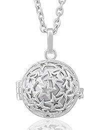 Llamador de ángeles Eudora, medallón, colgante para embarazadas, cadena de 89 cm, plata de ley