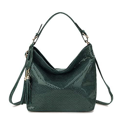 Yueling Schlange Leder Frauen Umhängetasche Weibliche Muster Hobos Bag Quaste Frauen Handtasche große Rote Handtaschen Green