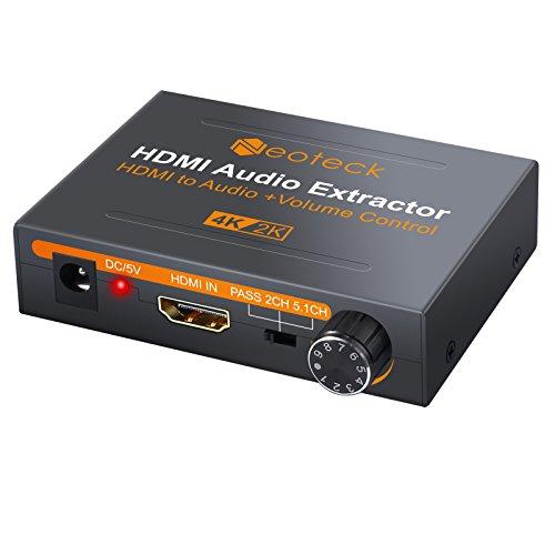 Neoteck 4K DAC HDMI Audio Extractor con Volumen Ajustable HDMI a Óptical SPDIF Toslink + R/L (RCA) + 3.5mm Audio Estéreo Convertidor para BLU-Ray DVD Player Xbox One Sky HD Box PS3 PS4