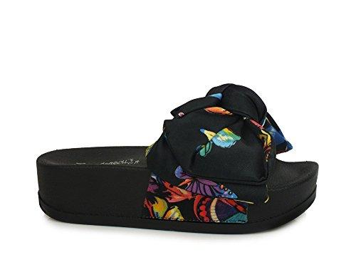 Jeffrey campbell edie bow 2 black ciabatte platform sandali scarpe donna nere (36)