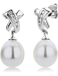 Miore MG4001E - Pendientes de mujer de oro blanco (14k) con 8 diamantes y perla cultivada de agua dulce (2 perlas)