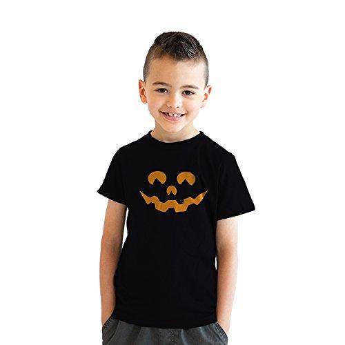 Youth Cartoon Eyes Pumpkin Face Funny Fall Halloween Spooky T Shirt (Black) - XL - Jungen - XL ()