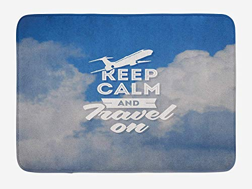Klotr Fußabtreter, Quote Bath Mat, Aviation Theme Keep Calm and Trave On Message with Plane Icon and Clouds, Plush Bathroom Decor Mat with Non Slip Backing, 40X60 cm, Cobalt Clue and White