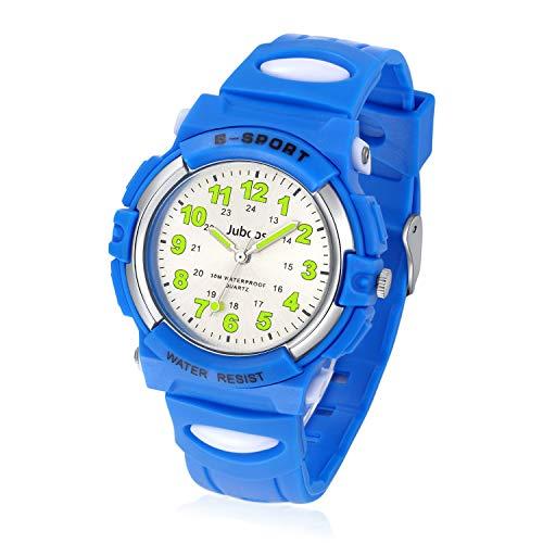 Juboos Kinderuhr Jungen M?dchen Analog Quartz Uhr mit Armbanduhr Gummi Wasserdicht Outdoor Sports Uhren-JU-001(Blau) -