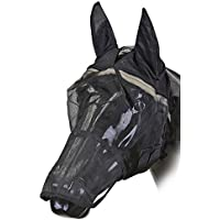 Moscas de la máscara de colour negro con orejas y parte de boca | Moscas de la capilla | Mosquitera de caballos Talla:large