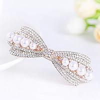 WWF Mode Haar Clip Haar Tiara Bogen Strass Perle Frühling Seite Clip Haar Zubehör Damen Mode Seite Clip,B,Aller Code