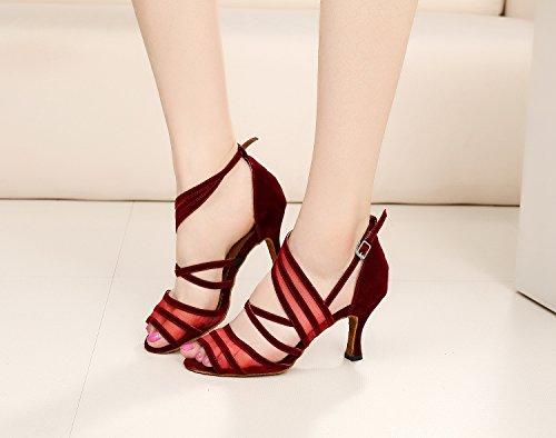 Minitoo QJ7036- Eleganti scarpe da ballo da donna, con cinturini in pelle scamosciata, adatte per tango e balli latino-americani Red