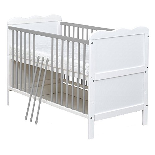 White and grey Wooden 120x60cm cm Baby Cot Bed with Free Mattress