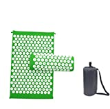 Marbeine - Kit tappetino per agopressione con cuscino per massaggio, portatile, tappetino per yoga, per il sollievo dal dolore al corpo, colore verde