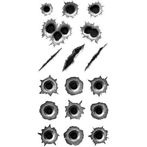 004 - Pegatinas con forma de rasguños de balas (20 x 10cm, para coche, camión, moto, etc., resistente a la intemperie y a los rayos UV, apto para lavacoches)