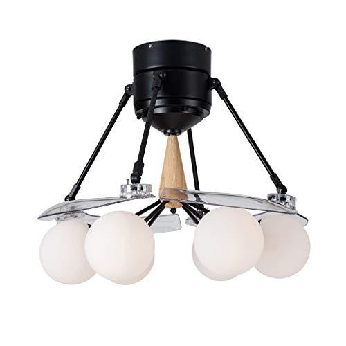 QIULAO Deckenventilator Mit Licht, 48in Magic Bean E27 Deckenventilator Light / 4 Invisible Fan Blades, Fernbedienung Einstellbare Windgeschwindigkeit Inverter Lüfter Kronleuchter/Energiesparende ge (Ge-deckenventilatoren)