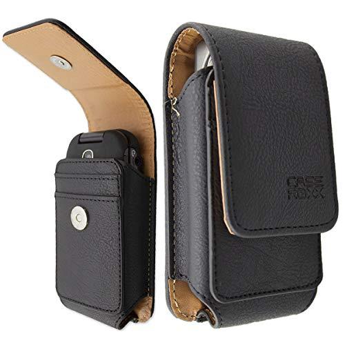 caseroxx Ledertasche mit Gürtelschlaufe für Panasonic KX-TU339 / -TU329 / -TU327, Tasche (Ledertasche mit Gürtelschlaufe in schwarz)