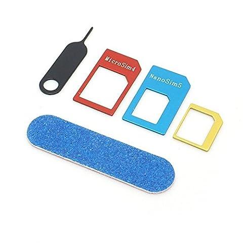 Sim Karten Adapter 5-teilig aus Metall | Nano zu Micro oder Standard Sim | geeignet für alle Android (Samsung, Huawei, Sony, LG) und Apple (iPhone) Smartphones