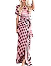 Vestiti Donna Lunghi Elegante Abito Estivi Stripe Manica Corta Rossi Ragazze  Giovane Ondo Collo Cinghietti Vestito 6cf4a4cab46