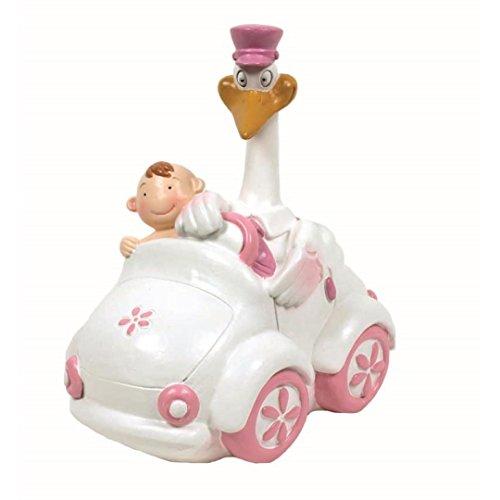 Figura para poner el la tarta de bautizo, cigüena y bebe en coche rosa. La figura para la tarta de bautizo, en color rosa para nina. Tambien se puede usar como una hucha. Hecho de Resina. Medida; 16 cms aproximadamente.