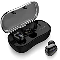 Truly Wireless Headphones for Sports, Syllable in-ear earbuds with Mic HiFi Sound Sweatproof Ear Pods with Charging Box for Android iPhone, Black