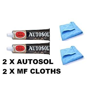 2 x 75ml Tube Solvol Autosol And 2 Microfibre Cloths - Chrome Ali & Metal Polish