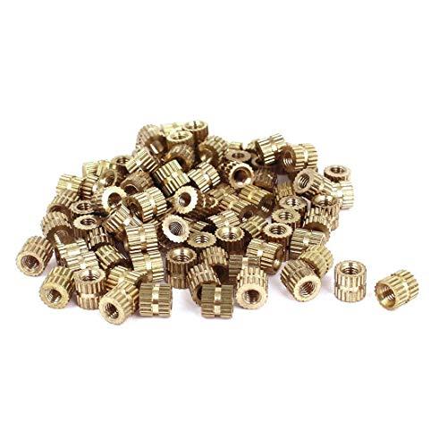 Goodplan Runde Rändelmuttern in Premium Qualität - M3x5mm L - 5mm OD Messinggewinde Rändeleinsätze mit Rundmuttern 100st