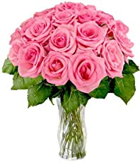 Floralbay Mother's Day Special Glass vase arrangement of 15 Pink Roses with Greenery