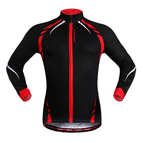 SYSI Herren Winddichte Regenjacke Radfahren Laufen langärmelig Jacke (Schwarz mit Rot 1, M)