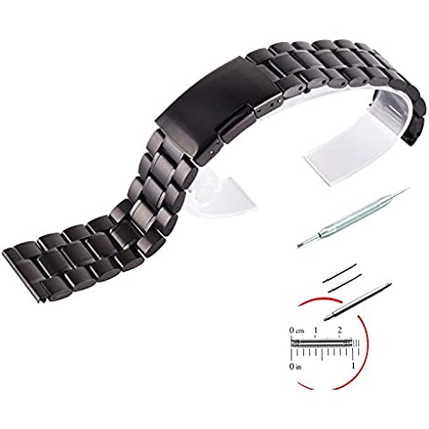 NEXTANY® 22mm Stainless Steel Watch Band For Samsung Galaxy Gear 2 R380, Gear 2 Neo R381, Gear 2 Live R382, LG G Watch W100, W110+ 3 Stainless Steel Pins Tool (Black), [Importado de