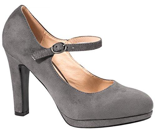 Elara Damen High Heels | Bequeme Spangen Pumps | Riemchen Stilettos | chunkyrayan E22317-SchwarzM-38