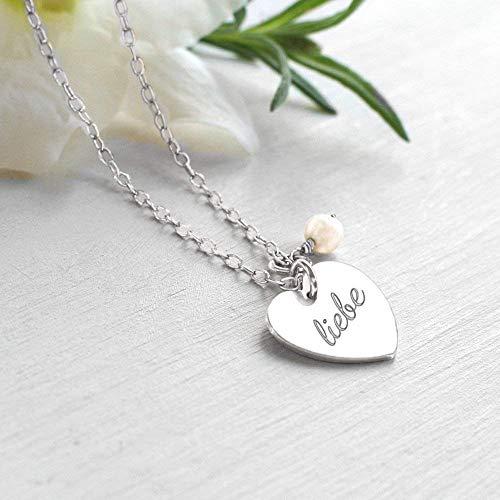 Personalisierte Sterlingsilber Herz und Süßwasser Perle 'love' oder 'liebe' Halskette, Muttertag Geschenk, Braut Halskette, Herzhalskette