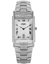 Rotary Men's Quartz Watch with Silver Dial Analogue Display and Silver Stainless Steel Bracelet GB42829/01
