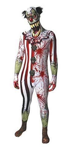 costumebakery - Herren Männer Kostüm hautenger Suit im Bunten Horror Clown Look, Second Skin Mad Crazy Clown Style,, perfekt für Halloween Karneval und Fasching, L, Weiß