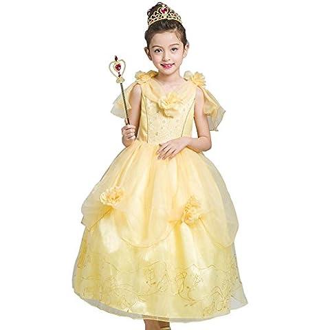 Kleine Mädchen Prinzessin Kostüm Kleid,Fanryn Cosplay Halloween Geburtstag Party Kleid Fancy Kleid Mädchen Kinder Kleid Halloween Kostüm(B-Hellgelb)