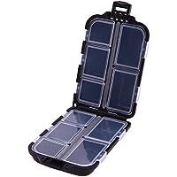 Aubess - Caja rectangular de plástico para anzuelos de pesca, caja de almacenamiento con 10 compartimentos, negro