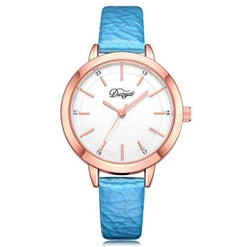 Yanhoo Mode Zeitlose Klassiker Fashion Herren Damen Paar Watch Rounded Analog Zeiger Hochwertiges Leder Quarz Armbanduhr (Blau)
