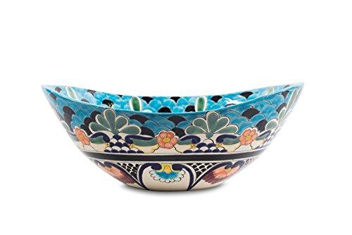 Cerames LA Reina - Talavera mexikanisches Waschbecken Aufsatzwaschbecken 46 x 38 x 15 cm | Waschschale aus Mexiko für Badezimmer, rustikale Küche