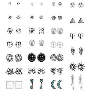 Milacolato 27 Sortierte Mehrere Ohrstecker Set für Frauen Mädchen Böhmen Retro Vintage-Stil Ohrringe Kartenpaket