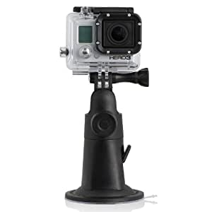 Wicked Chili GoPro Hero 4, 3+, 3 Plus, 3, 2, 1 - Black/Silver, Kamera Zubehör Suction Cup Mount Halterung, Sauger für ebene Flächen (vibrationsfrei / Made in Germany)