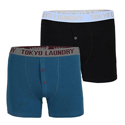 Tokyo Laundry Herren Farren 2er Packung Satz Boxer Shorts Designer Knopf Stretch Badehose Eisvogel Blau/Schwarz