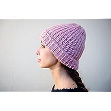 Cappello lungo con risvolto costa 1x1 in cashmere rosa