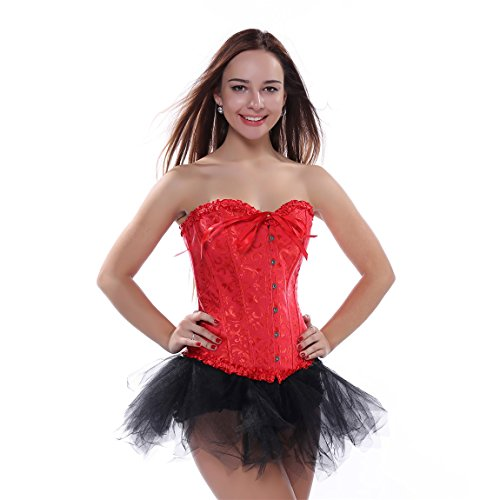 Frauen Jacquard Korsett Corsage Vollbrust Bustier mit Tutu Halloween Kostüm Rot