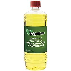 PAPILLON 8045300 8045300-Aceite para antorcha antimosquitos citronela, 1 l, Amarillo, 9x9x26 cm