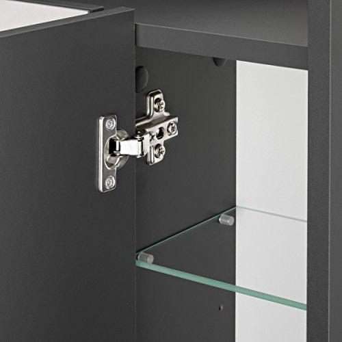 Galdem ELEGANCE Spiegelschrank 70cm Badezimmerschrank Wandschrank Badmöbel 3 Spiegeltüren LED Beleuchtung 6 Einlegeböden Anthrazit - 3