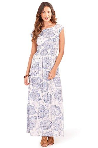 Pistachio Damen Teller Kleid rosa rose Paisley Navy - Blue