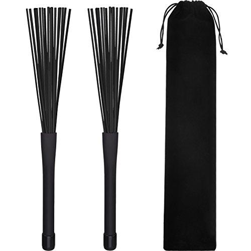 1 Paar Drum Brushes Drumstick Besen Einziehbar Nylon Drum Bürsten Cajon Brush Schlagzeug Drumbrushes Sticks (Schwarz)