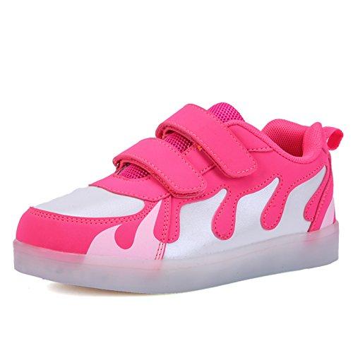 Kinder Schuhe mit Licht LED Schuhe USB Aufladen Sportschuhe Sneakers Laufschuhe Turnschuhe Trainers Blinkschuhe Schuhe für Mädchen Jungen Weiß Rosa 40