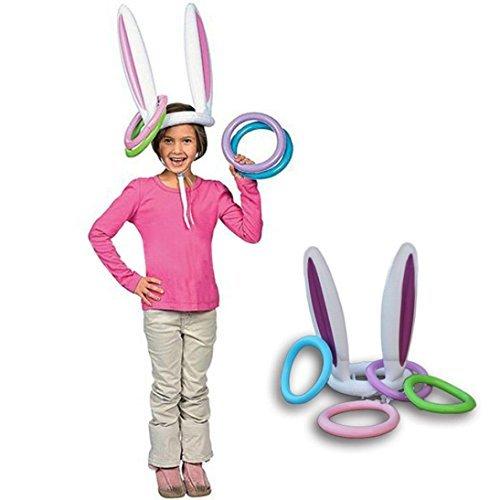 Romote gonfiabile coniglietto orecchie cappello con anelli Toss gioco giocattolo per famiglia bambini dei regali di Pasqua caccia alle uova di Pasqua party Games Favors Supplies