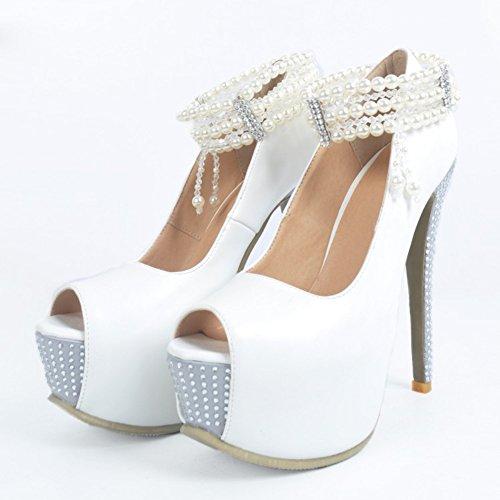 Kolnoo Femmes Gratetaor Peal Open Peep Toe Platform Wedding Evening Pumps Dress Shoes silver