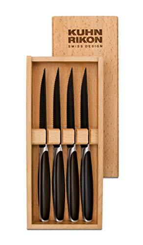 Kuhn Rikon 24020 Black Peak Steakmesser 4er-Set in Holz-Geschenkbox, schwarz